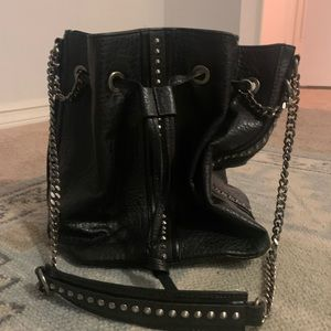 Zara Black Leather Bucket Bag